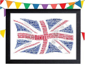 Personalized Gift Union Jack Gift British Gift For British UK Gift Wall Prints Wall Art Wall Decor Personalised Gift Wall Art Prints