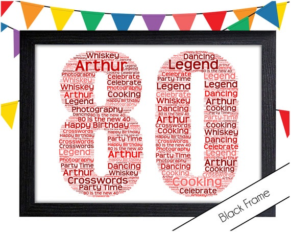 PERSONALISED 80th Birthday Word Art Wall Print Gift Idea 80 Mum Wife Sister Nan
