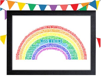 Personalized Gift Rainbow Wall Art Wall Prints Wall Art Wall Decor Gift Teacher Gifts Personalised Gift Wall Art Prints Teacher Appreciation