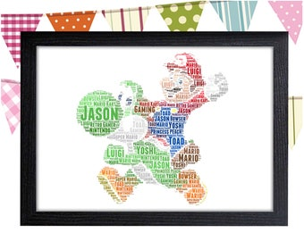 Personalized Gift Mario Gift Yoshi Gift Mario And Yoshi Gifts Wall Art Wall Prints Wall Art Wall Decor Personalised Gift Wall Art Prints