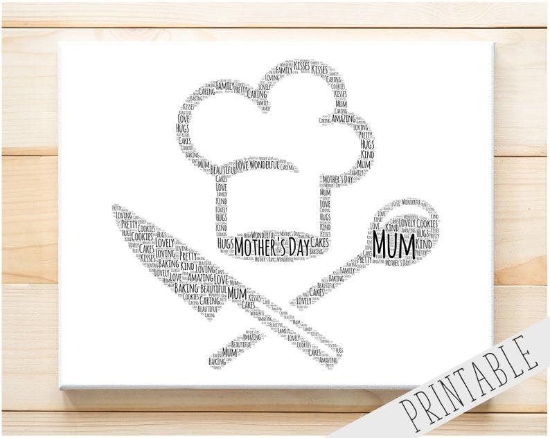photo relating to Printable Chef Hat identify Customized PRINTABLE Chef Hat Phrase Artwork Present Present Mummy Present Mum Wall Prints Electronic Down load Chef Baking Present Wall Artwork Prints