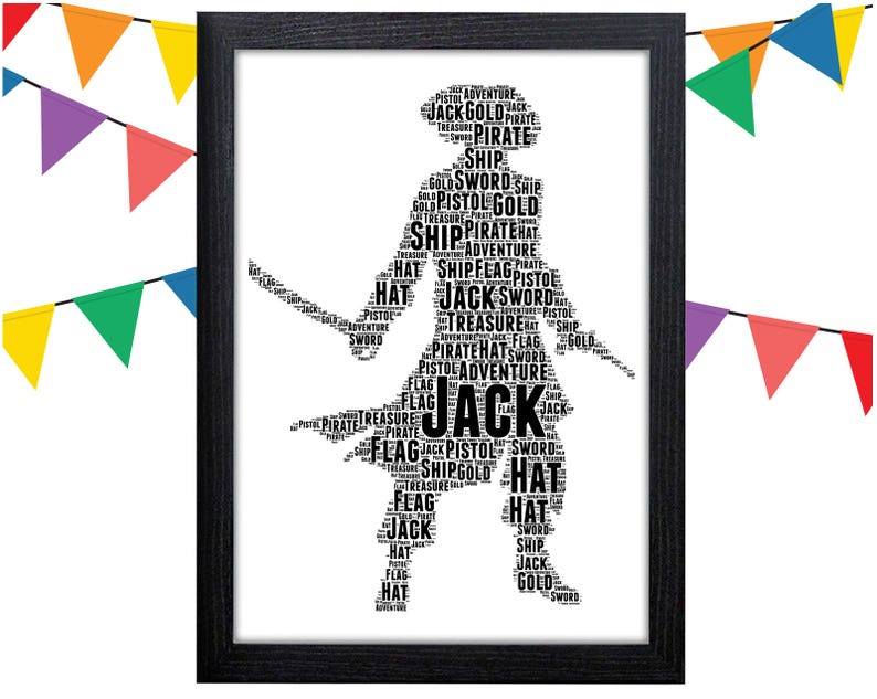 e29d9502f8bd5 Personalised Word Art Gift Pirate Gift Pirate Captain Gift For