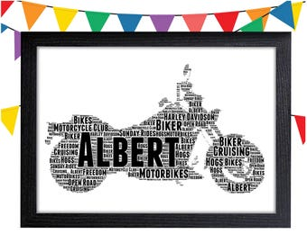 Motorcycle Gifts Personalized Gift Harley Davidson Gifts Wall Art Wall Prints Wall Art Wall Decor Personalised Gift Wall Art Prints