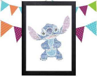 Lilo And Stitch Poster Personalized Gift Wall Art Wall Prints Wall Art Wall Decor Gift For Her Ohana Personalised Gift Wall Art Prints Ohana