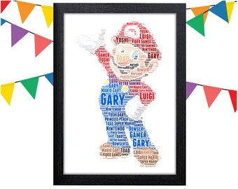 Personalized Gift Mario Gift Super Mario Gift For Gamer Wall Art Wall Prints Wall Art Wall Decor Personalised Gift Wall Art Prints