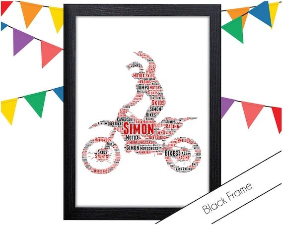 Motocross Motorbike Dirtbike Personalised Word Art Print Christmas Birthday Gift