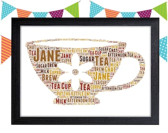 Personalized Gift Tea Cup Gift For Tea Lover Gifts Cup And Saucer Wall Art Wall Prints Wall Art Wall Decor Personalised Gift Wall Art Prints