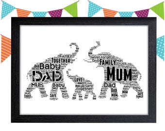Personalized Gift Elephant Gift Elephant Family Gift Housewarming Gift Wall Prints Wall Art Wall Decor Personalised Gift Wall Art Prints