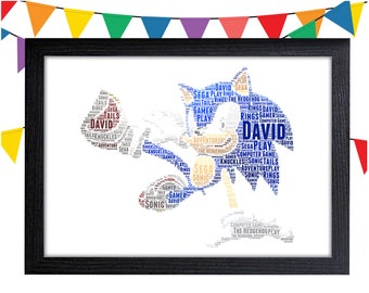 Sonic The Hedgehog Gift Personalized Gift Sonic Gifts Wall Art Wall Prints Wall Art Wall Decor Personalised Gift Wall Art Prints Sonic