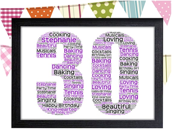 Personalised Word Art Gift 30th Birthday Thirty