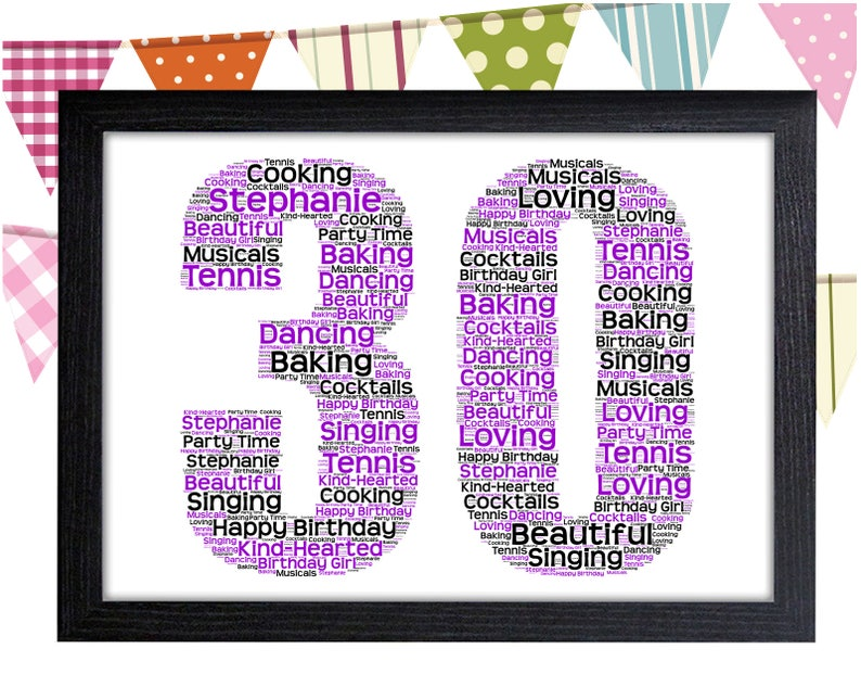 Personalised Word Art Gift 30th Birthday Thirty Wall