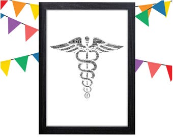 Personalized Gift Caduceus Wall Art Caduceus Gift Doctor Gift Wall Art Wall Prints Wall Art Wall Decor Personalised Gift Wall Art Prints