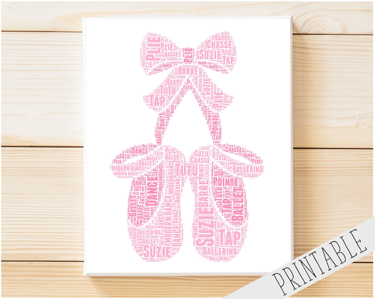 personalised printable word art gift ballet gift ballerina gifts ballet shoes gift wall art wall prints wall art digital downloa