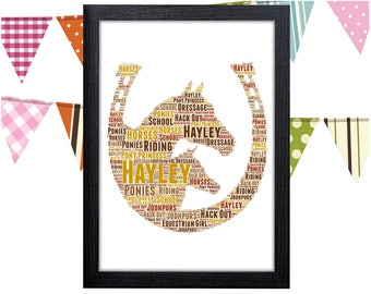 Personalized Gift Horse Shoe Gift Horse Gifts Horses Good Luck Gift Wall Prints Wall Art Wall Decor Personalised Gift Wall Art Prints
