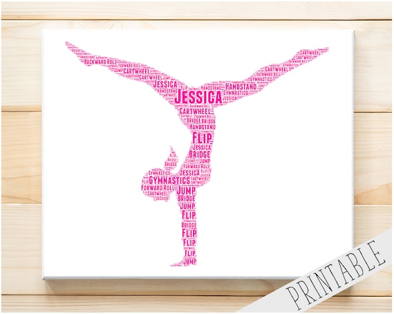 PERSONALISED Ballerina 2 Word Art Wall Print Gift Idea Jump Dance Ballet Leap