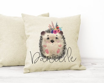 Personalised Hedgehog Cushion Gift Printed Name Design - Cushion Throw Pillow Gift For Mum Dad Friend Bedroom Birthday Christmas Gift CS069
