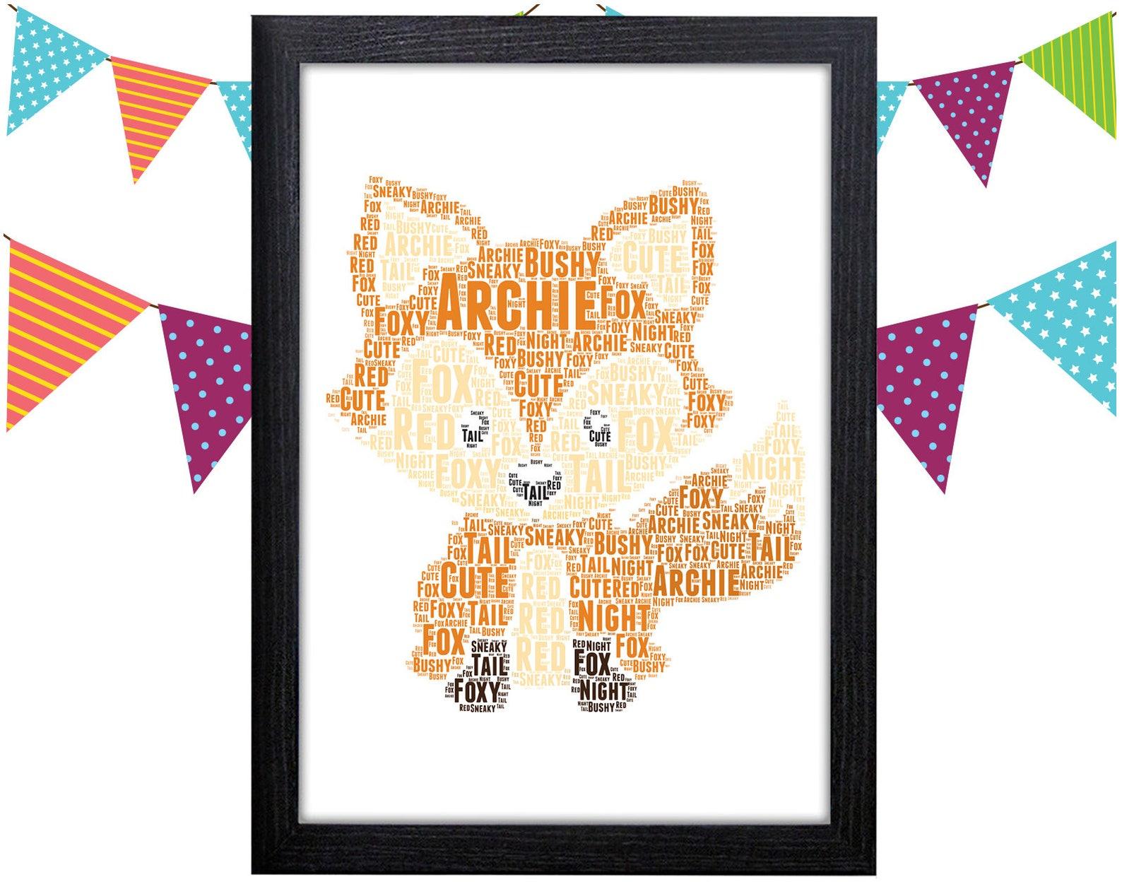 Personalised word art fox print