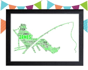 Personalized Gift Fishing Gift For Dad Gifts Fisherman Gift Fish Wall Art Wall Prints Wall Art Wall Decor Personalised Gift Wall Art Prints