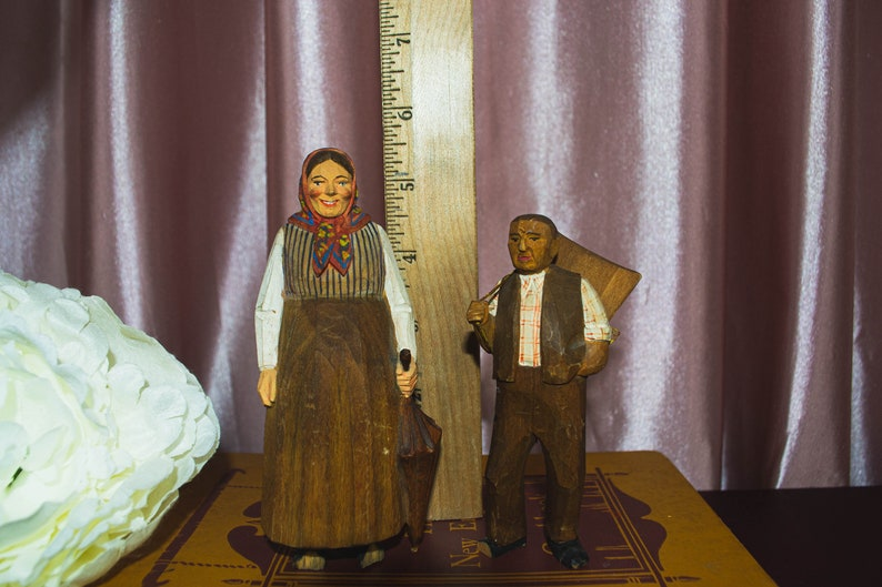 Vintage Multicolored Folk Art Hand Painted Hand Carved Wood Provincial Pilgrims Statues Country Primitives Brown Artwork