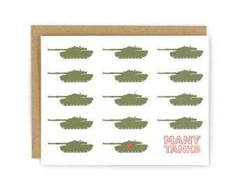 Many Tanks Letterpress Card