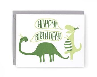 Dinosaur Birthday Letterpress Card