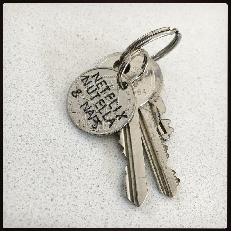 c738133b6570 Netflix Nutella and naps keychain. Hand stamped british coin.