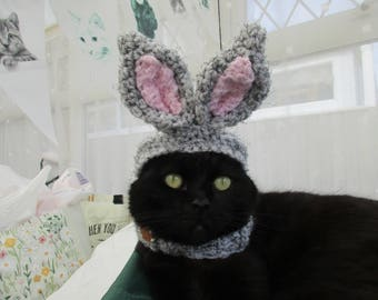 The bunny hat. Easter hat, snood for your cat. Uk seller. Choose your colour. Cat Hat. Size xs