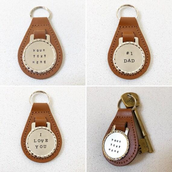 f7cb12337e4c Custom Tan Leather key fob keychain. Hand stamped. Keyring