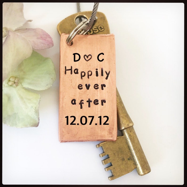 HAPPILY EVER AFTER Personalised Hand stamped Wedding Anniversary gift him Initials and date. Copper key ring Gift for her keychain