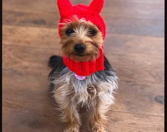 The Little Devil dog hat, snood for your doggie. Choose your size. Pug, french bulldog, greyhound, chihuahua, spaniel. Halloween costume