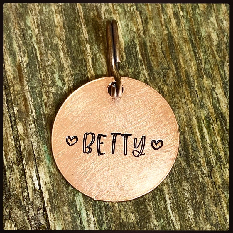 Chipped microchipped tag Hand stamped Copper or brass Personalised Pet ID name and phone number Custom dog cat pet tag