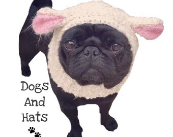 The Little lamb dog hat, snood for your doggie. Choose your size. Pug, french bulldog, greyhound, King Charles spaniel, terrier, chihuahua.