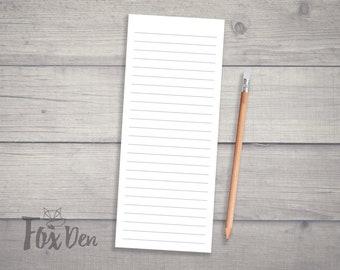 Plain Notepad, Skinny Notepad, Fridge Notepad, Grocery List Notepad, Lined Notepad, List Notepad, Grocery List, Notepad, Notepad for Fridge