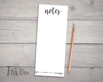 Notes and Arrows Notepad, Skinny Notepad, Grocery List Notepad, Notepad, Fridge Notepad, Daily To Do List, Notepad with Magnet