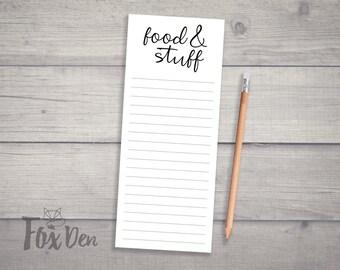Food & Stuff Notepad, Skinny Notepad, Fridge Notepad, Grocery List Notepad, Funny Notepad, Grocery List, Magnetic Shopping List