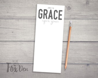 Grace Upon Grace, Notepad, Notepad with Magnet, Small Notepad, Fridge Notepad, Desk Notepad, Bible Verse Notepad, Stocking Stuffer