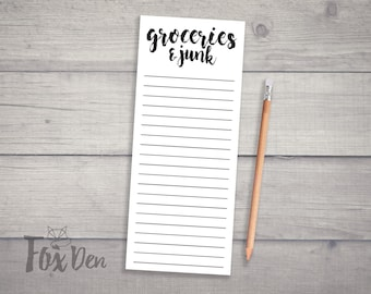 Groceries and Junk Notepad, Skinny Notepad, Fridge Notepad, Grocery List Notepad, Funny Notepad, Groceries Notepad, Magnetic Shopping List