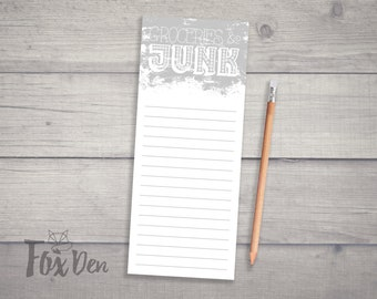 Groceries & Junk Notepad, Skinny Notepad, Fridge Notepad, Grocery List Notepad, Funny Notepad, Notepad with Magnet, Stocking Stuffer
