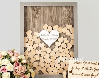 Wedding guest book alternative wood Wooden wedding heart guest book drop top Shadow box