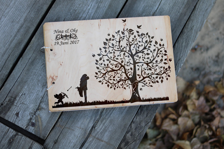 Wedding Guest Book Album Personalised Rustic Wood Design Custom Wooden Guestbook