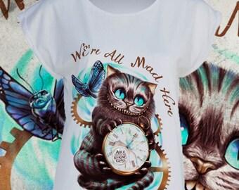 T- shirt Cheshire Cat Alice in wonderland Rabbit hole Stregatto