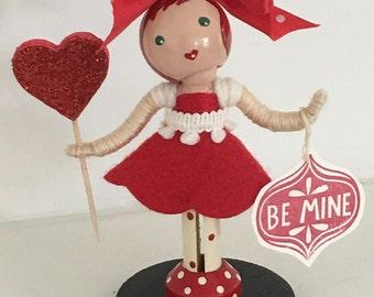 Valentine's clothespin doll, bommai, golu doll, navarathri doll