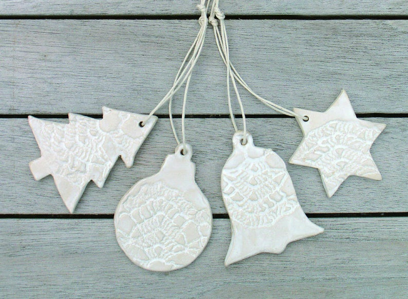 Ceramic Christmas Tree Decorations.Set Of 4 White Ceramic Christmas Tree Decoration Tree Ball Star Bell