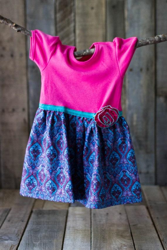 8749bf6630 Hot pink and purple T-shirt dress fall dress short sleeve