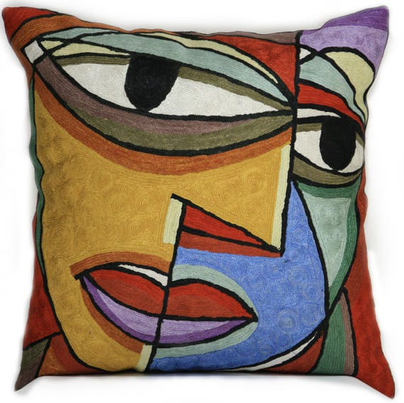Dual Face Picasso Contemporary Art Throw Pillow Abstract Modern Decorative Classic Designer Home Decor Sofa Couch Cushion Cover