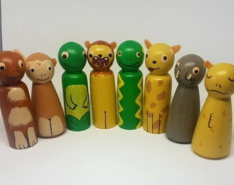 Dear Zoo Peg Dolls Set/ Small World Play / Open Ended Play/ Preschool / Montessori / Waldorf / Wooden Toys / Educational / School