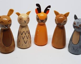 Woodland Animals/ Peg Dolls/ Autumn/ Play/ Small world/ Montessori/ School/ Waldorf/ Learning