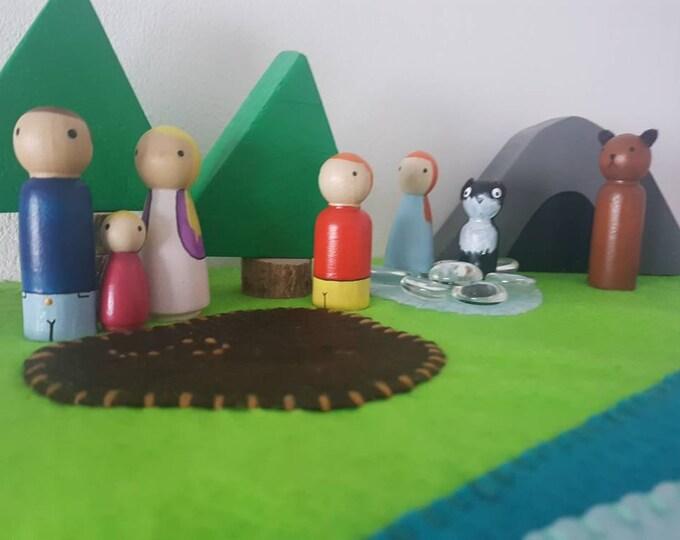 Featured listing image: We're Going on a Bear Hunt Felt Set / Small World Play / Peg Dolls / Preschool / Montessori / Waldorf /Felt Play / Wooden Toys / Educational