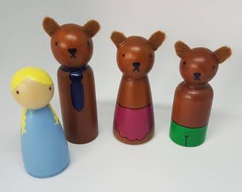 Goldilocks and the Three Bears peg dolls/ Small World Play / Open Ended Play/ Preschool / Montessori / Waldorf / Wooden Toys / Educational