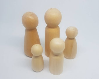 Wooden Natural Peg doll family/ Peg Dolls/ Wooden Toys/ Montessori/ School / Waldorf/ Play/ Kids/ School/ Learning/ Natural